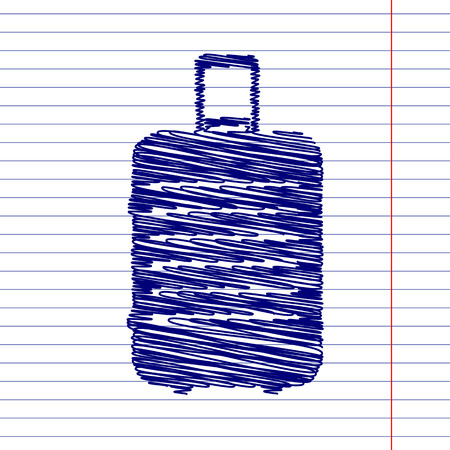 suit case: Luggage sign illustration with chalk effect on school paper Illustration