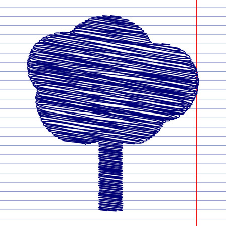 reforestation: Tree sign illustration with chalk effect on school paper