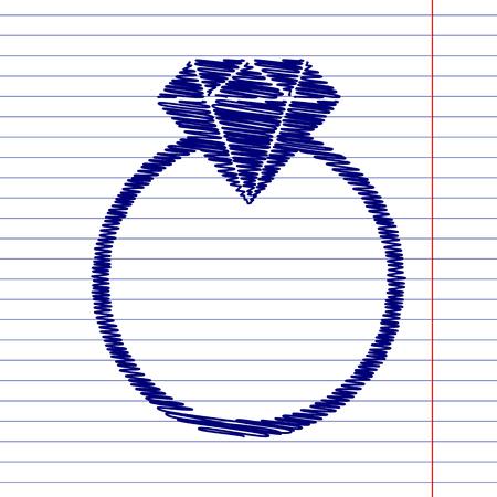 spoil: Diamond sign illustration with chalk effect on school paper Illustration