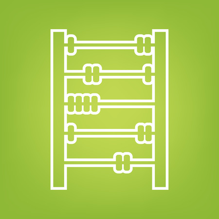 abacus: Old retro abacus line icon on green background. Vector illustration
