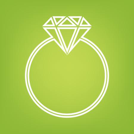 spoil: Diamond line icon on green background. Vector illustration