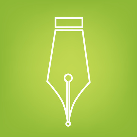 contact details: Pen line icon on green background. Vector illustration