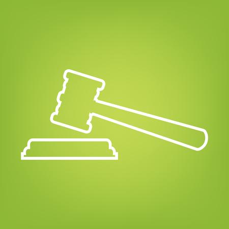 justice hammer: Justice hammer line icon on green background. Vector illustration