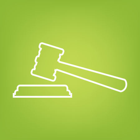 Justice hammer line icon on green background. Vector illustration
