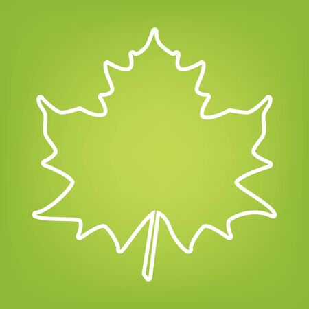 leaf line: Maple leaf line icon on green background. Vector illustration