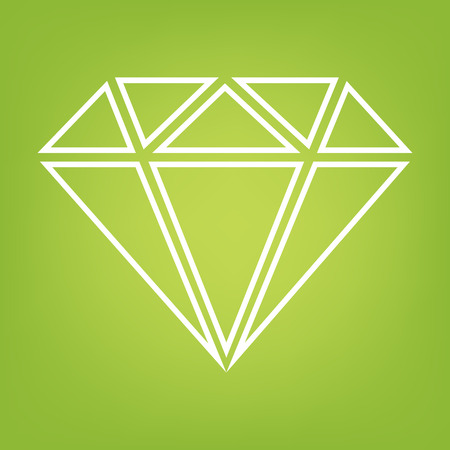 Diamond line icon on green background. Vector illustration