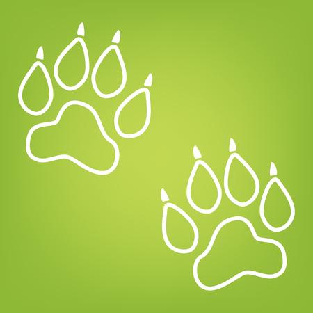 huellas de animales: El animal sigue icono de la l�nea en el fondo verde. ilustraci�n vectorial Vectores