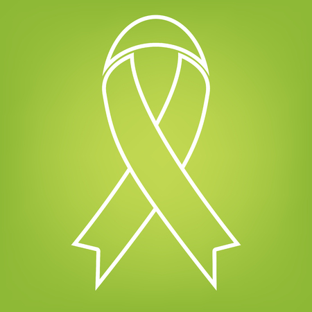 substance abuse awareness: Black awareness ribbon line icon on green background. Vector illustration