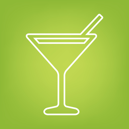 coctail: Coctail line icon on green background. Vector illustration