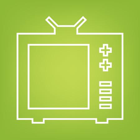 tvset: TV line icon on green background. Vector illustration