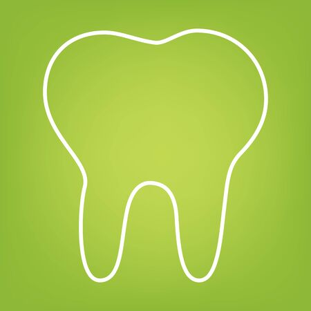 toothcare: Tooth line icon on green background. Vector illustration Illustration