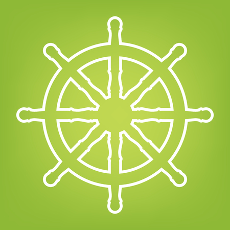 ship wheel: Ship wheel line icon on green background. Vector illustration
