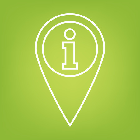 informing: Map pointer line icon on green background. Vector illustration