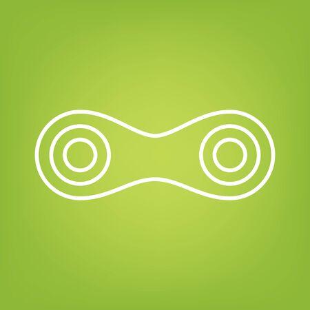 single line: Link. Single line icon on green background. Vector illustration Illustration