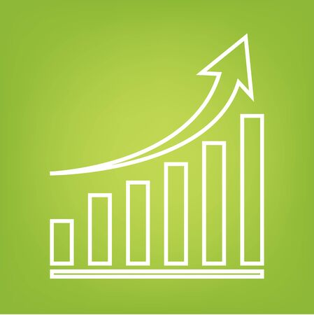 grow money: Growing line icon on green background. Vector illustration