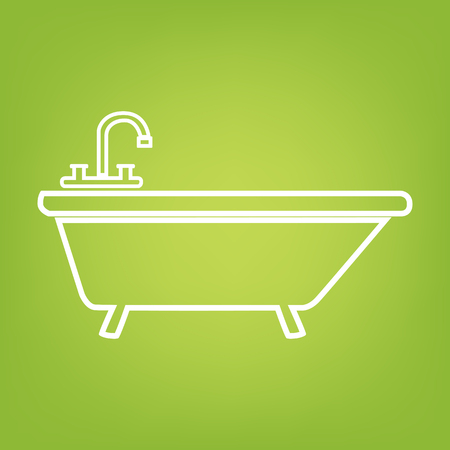 bathtub: Bathtub line icon on green background. Vector illustration