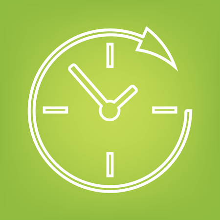 Service en ondersteuning voor klanten op de klok en 24 uur lijn icoon op groene achtergrond. Vector illustratie