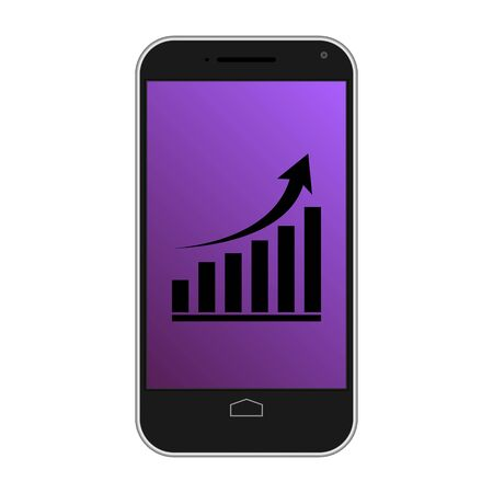 Modern smart phone isolation with growing graph icon
