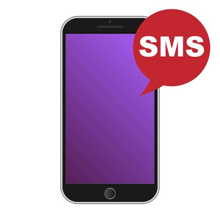 respond: Modern smart phone with SMS icon. Vector illustration