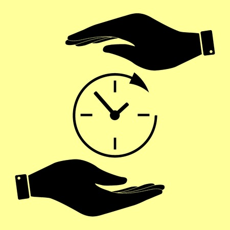 around the clock: Service and support for customers around the clock and 24 hours. Save or protect symbol by hands. Illustration