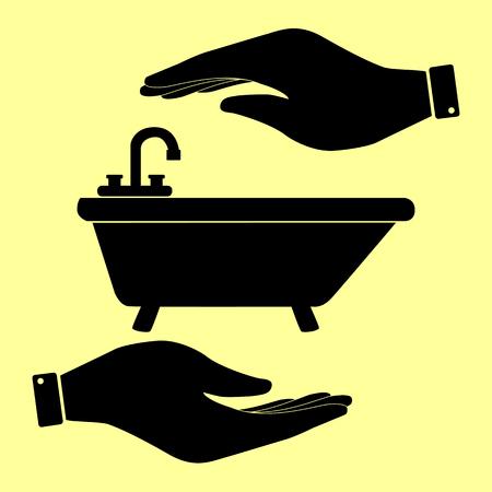 bathtub: Bathtub sign. Save or protect symbol by hands. Illustration