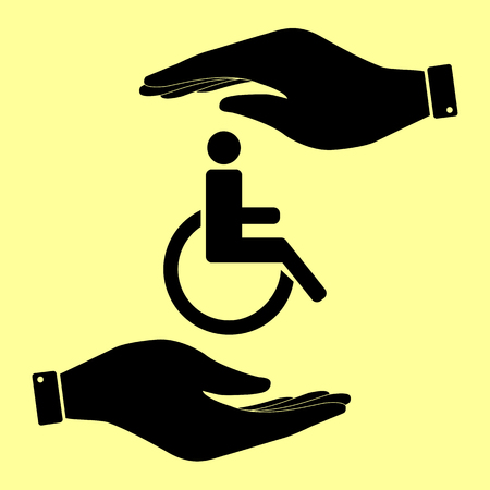 disabled sign: Disabled sign. Save or protect symbol by hands. Illustration