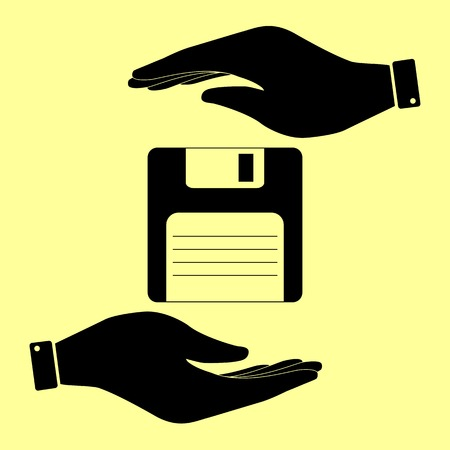 floppy drive: Floppy disk sign. Save or protect symbol by hands.