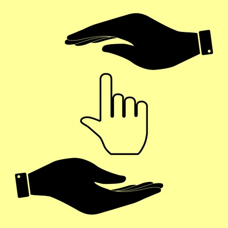 hit tech: Hand sign. Save or protect symbol by hands. Illustration