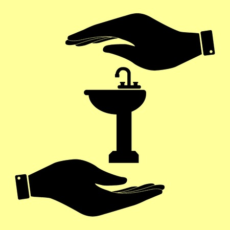 necessity: Bathroom sink sign. Save or protect symbol by hands. Illustration