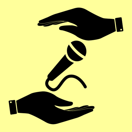 amplification: Microphone sign. Save or protect symbol by hands.