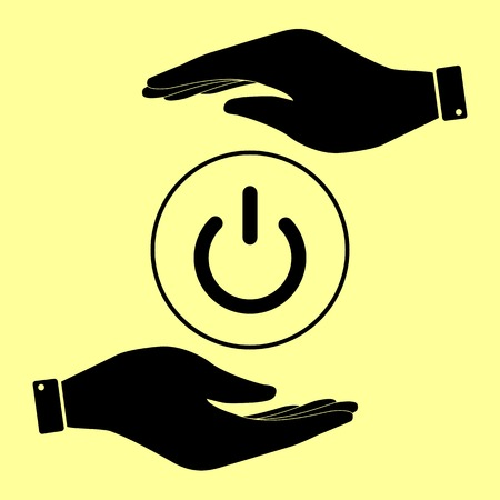 hands off: On Off switch sign. Save or protect symbol by hands.