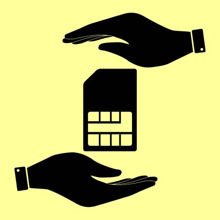 Sim card sign. Save or protect symbol by hands.