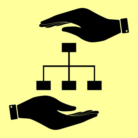 site map: Site map sign. Save or protect symbol by hands.