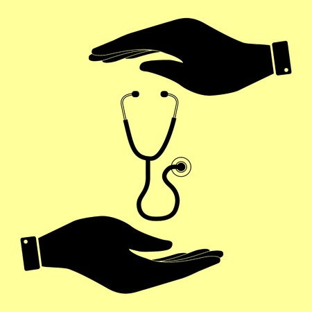 io: Stethoscope sign. Save or protect symbol by hands. Illustration