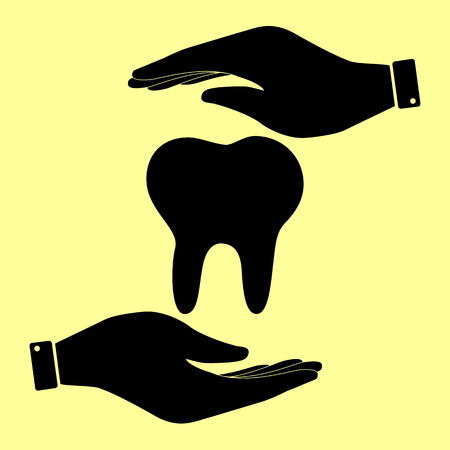 mouth pain: Tooth sign. Save or protect symbol by hands. Illustration