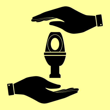flush toilet: Toilet sign. Save or protect symbol by hands. Illustration