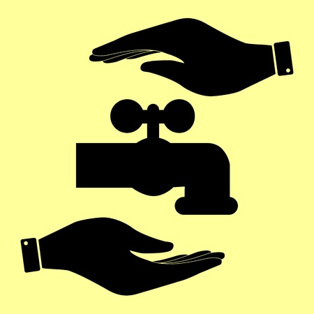 switcher: Water faucet sign. Save or protect symbol by hands. Illustration