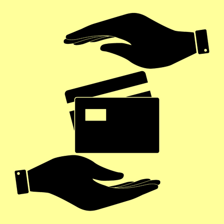 transact: Credit Card sign. Save or protect symbol by hands.