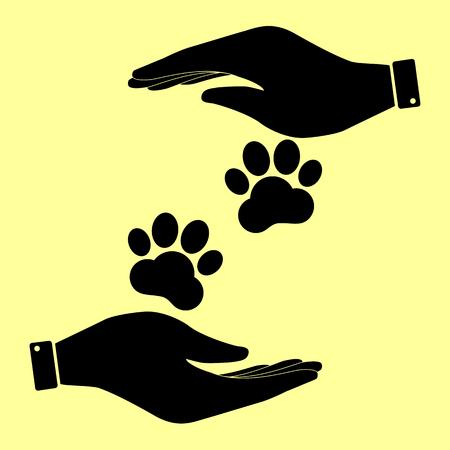 huellas de animales: Pistas animales firman. Salvar o proteger el s�mbolo de las manos.