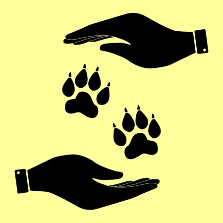 animal tracks: Animal Tracks sign. Save or protect symbol by hands.