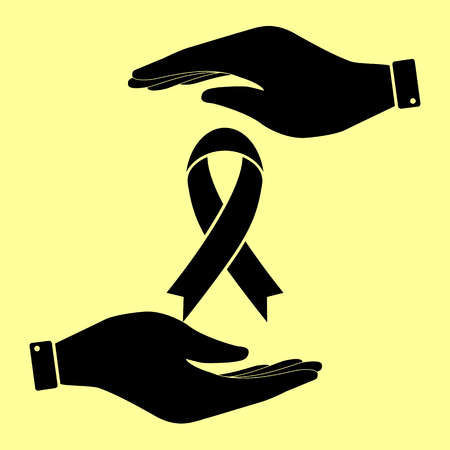 substance abuse awareness: Black awareness ribbon sign. Save or protect symbol by hands.