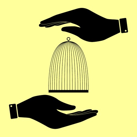 Bird cage sign. Save or protect symbol by hands.
