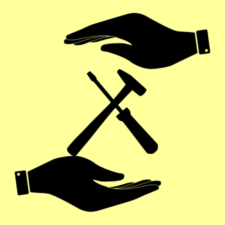 reconditioning: Tools sign. Save or protect symbol by hands.