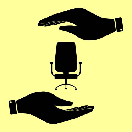 ergonomic: Office chair sign. Save or protect symbol by hands. Illustration