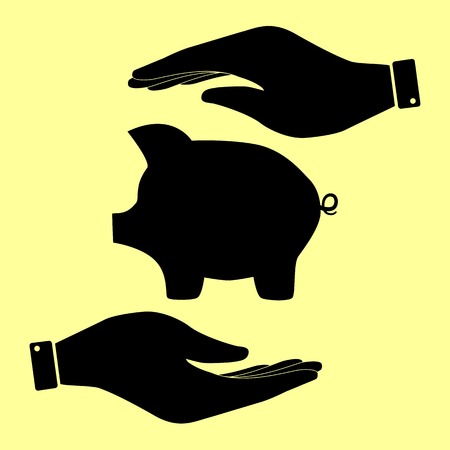 moneyed: Pig money bank sign. Save or protect symbol by hands.