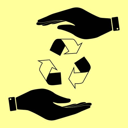recycle logo: Recycle logo concept. Save or protect symbol by hands. Illustration