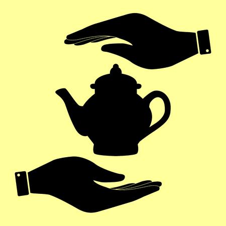 sign maker: Tea maker sign. Save or protect symbol by hands. Illustration