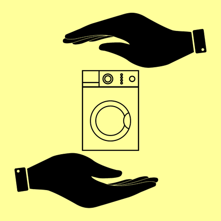 major household appliance: Washing machine sign. Save or protect symbol by hands.