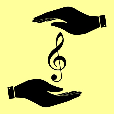 festival scales: Music violine clef sign. Save or protect symbol by hands.