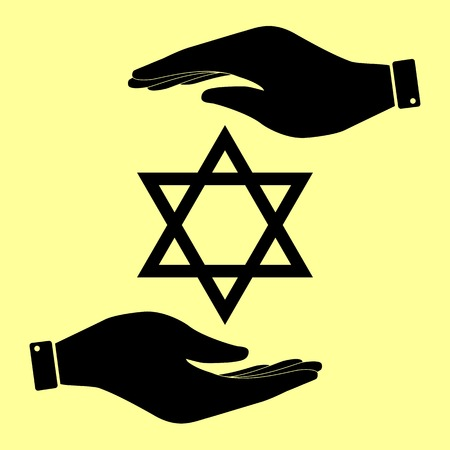 magen: Star. Shield Magen David. Symbol of Israel. Save or protect symbol by hands.